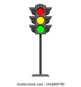Standing traffic light flat design icon   Typical horizontal traffic signals with red, yellow and green light. Vector illustration isolated on white background. Automatic speed traffic control element