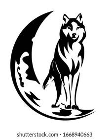 Stehwolf und Mondkreszenz - Nachtwild, Schwarzweiß-Vektorillustration-Design