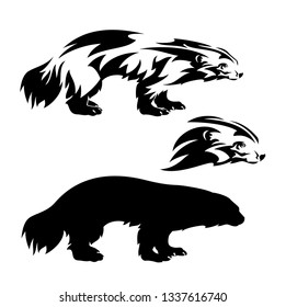standing wolverine outline and silhouette and profile head black and white vector design