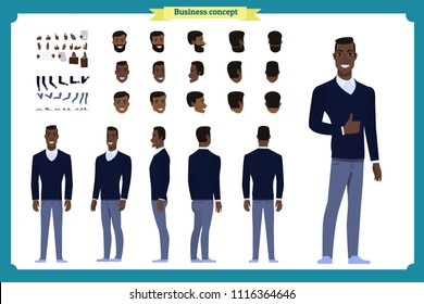 Standing young Black american businessman. Male Student.Front, side, back view animated character. Man character constructor with various views, hairstyles, face emotions. cartoon flat vector isolated