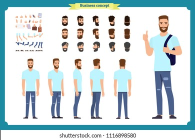 Standing young boy. Male Student.Front, side, back view animated character. Man character constructor with various views, hairstyles, face emotions. cartoon flat vector isolated.Business college