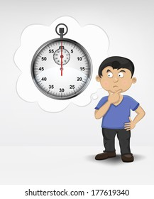 standing young boy thinking about deadline vector illustration