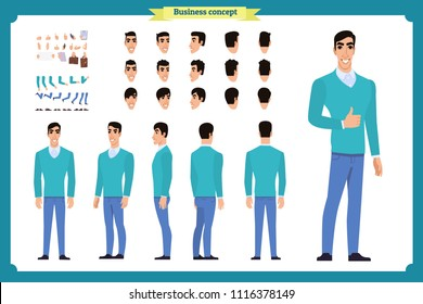 Standing young businessman. Male Student.Front, side, back view animated character. Man character constructor with various views, hairstyles, face emotions. cartoon flat vector isolated. business