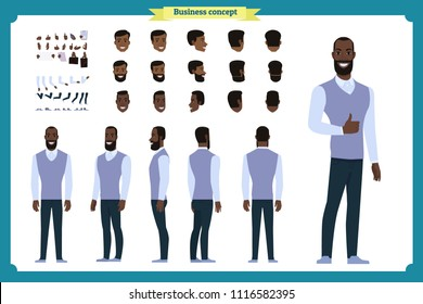 Standing young businessman. Male Student.Front, side, back view animated character. Man character constructor with various views, hairstyles, face emotions.cartoon flat vector isolated.male teacher