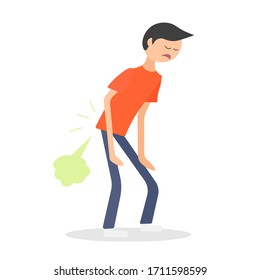 Standing young man relieved of farting. Stinky and smelly fart. Diarrhea medical symptom. Bad smell. Flatulence gas icon. Digestive problem. Health flat vector character illustration.