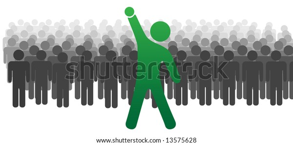 A standout leader ahead of a large crowd or team of people celebrates success with raised fist.