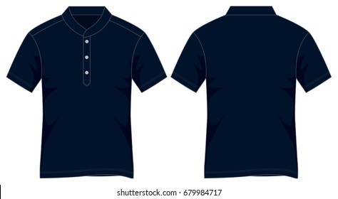Stand-Up Blank Navy Blue Polo Shirt Vector for Template.Front And Back Views.