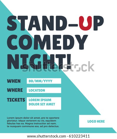 Standup Comedy Night Poster Concept Venue Stock Vector (Royalty Free ...