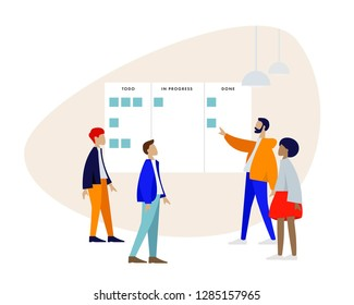 Stand-up meeting vector illustration. Scrum master with team. Agile and scrum methodology. Kanban whiteboard with stickers. Trendy flat style illustration.