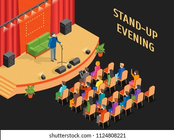 Stand-Up Show Scene and Auditorium with Public Isometric View Comedy Performance Entertainment Design. Vector illustration of Comedian Event