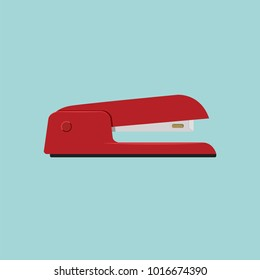 Stapler, staple, paper, cardboard, office equipment, red color vector illustration symbol icon object flat style