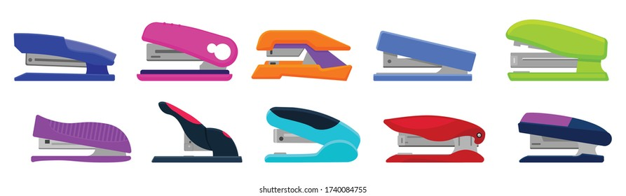 Stapler vector cartoon set icon. Isolated cartoon set icon stapling equipment. Vector illustration stapler on white background.