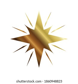 Star with 8 points and lines gold style icon design, Night bedtime sky space nature science celestial galaxy and astrology theme Vector illustration