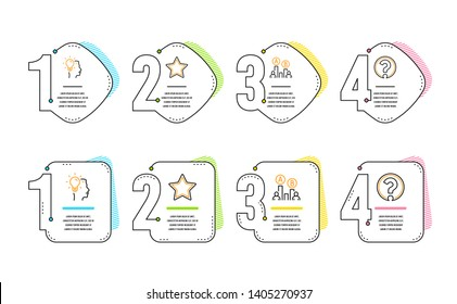 Star, Ab testing and Idea icons simple set. Question mark sign. Best rank, Test chart, Professional job. Ask support. Science set. Infographic timeline. Line star icon. 4 options or steps. Vector