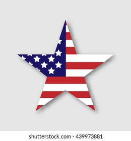 Star in American flag style.