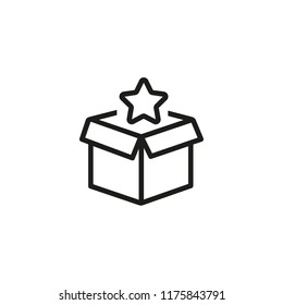 Star appearing from box line icon. Surprise, post, gift. Celebration concept. Vector illustration can be used for topics like rating, assessment, delivery