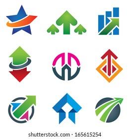 Up star arrow business marketing logo and finance economy icon set