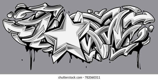 Star and arrows black and white graffiti