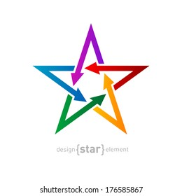 Star with arrows on white background, Abstract vector design element. Corporate logotype template.