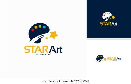 Star Art logo designs concept, Iconic Star Painting logo template