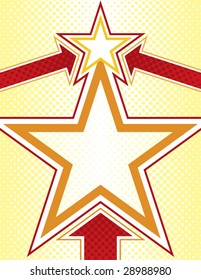 Star Background with Halftone Elements and Arrows