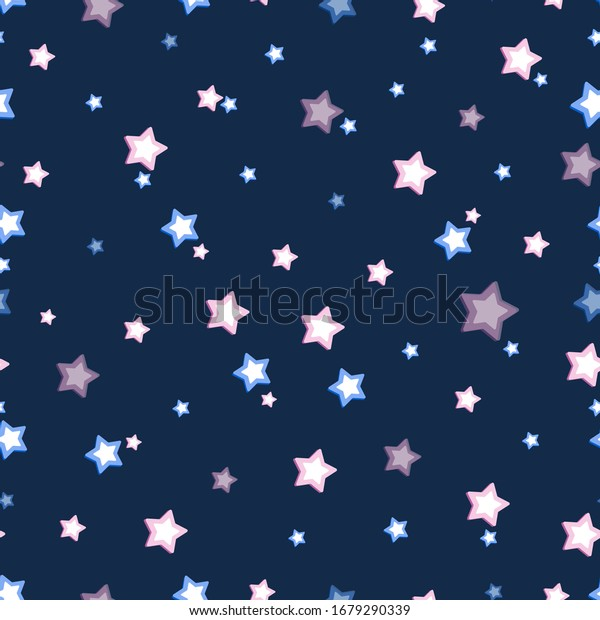 Star background. Vector blue abstract template. Cosmic illustration. Bright stars on a dark background for children's textiles, background image. Seamless pattern.