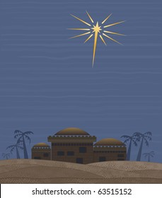 Star of Bethlehem - Simple clean interpretation of the star of Bethlehem that guided the way for the three kings. Plenty of copy space. CLICK ON MY PORTFOLIO FOR OTHER HOLIDAY/RELIGIOUS IMAGES