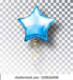 Star blue balloon on transparent background. Party helium balloons event design decoration. Balloons isolated air. Mockup for balloon print. Stocking Christmas decorations. Vector isolated object.