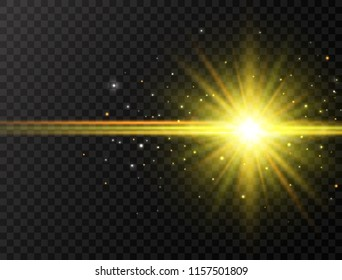 Star burst with beams and sparkles on transparent background. Sun flash with rays and spotlight. Glowing effect. Colorful lens flare. Explosion star. Vector illustration.