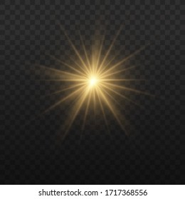 Star burst with brilliance, glow bright star, yellow glowing light burst on a transparent background, golden light effect, flare of sunshine with rays, yellow sun rays, vector illustration, eps 10