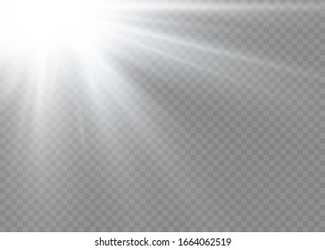 The star burst with brilliance. White glowing lights sun rays. A flash of sun with rays and spotlight. Special lights effect isolated on transparent background. Vector illustration, EPS 10.