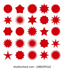 Star burst shapes. Vector brightness red bursting stars symbols isolated on white background for circle badges and prices