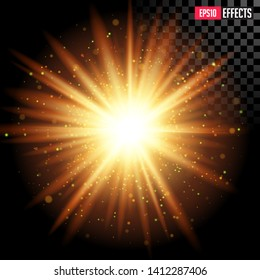Star Burst with Sparkles. Creative Vector Illustration of Gold Transparent Sci-Fi Supernova Star Special Lens Flare Light Effect. Concept Graphic Element.