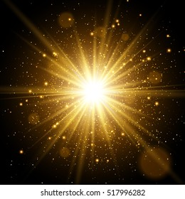 Star burst with sparkles. Light effect. Gold glitter texture.