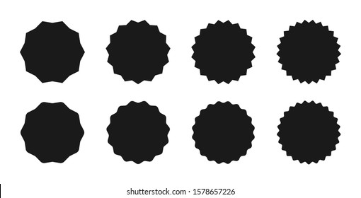 Star burst sticker set. Black flat price tags explosion silhouettes, starburst retro sale badge. Vector illustration. Star blank label, stickers emblem Set of starburst badges Sunburst stickers.