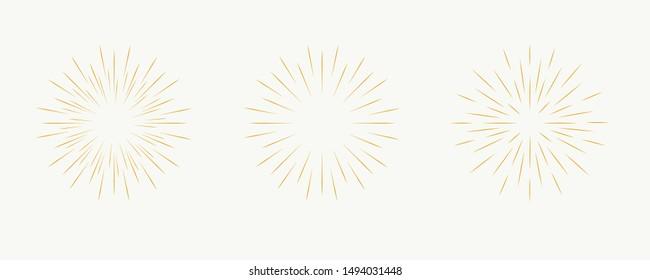 Star burst, sun burst sunshine. Radiating from the center of thin beams, lines. Design element for logo, signs. Vector illustration
