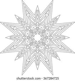 Star, Christmas, Mandala, adult coloring page, template, vector, circular pattern