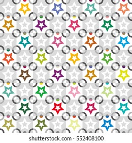 star and circle image,vivid color and gray scale tile - Geometric seamless pattern