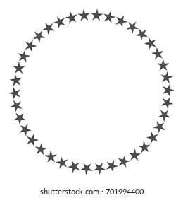 Star in circle shape. Starry vector border frame icon isolated on a white background