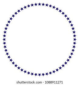 Star circle template. Vector draft element for stamp seals in blue color.
