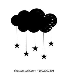 Star cloud, cloud, black stencil, silhouette, vector illustration in flat style, design, decoration, print, icon