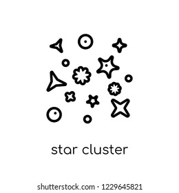 star cluster icon. Trendy modern flat linear vector star cluster icon on white background from thin line Astronomy collection, outline vector illustration