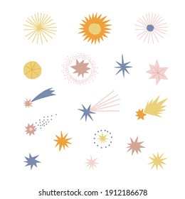 Star and comet vector clip art set. Cosmic starry design elements isolated on white. Abstract geometric space clip-art. Celestial doodle and paper cut shapes collection for kid and baby