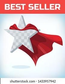 Star concept. Star in cape, super red cloak. Super star.