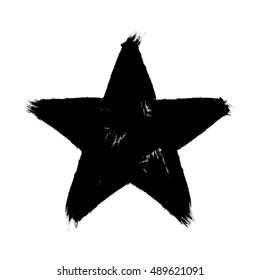 Star created with grunge style. Hand-drawn strokes. Vector