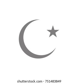 Star and crescent moon glyph icon. Simple web black icon, can be used as web element icon on white background