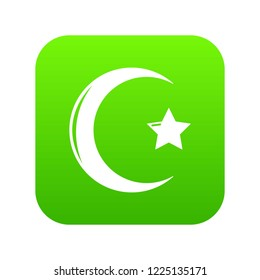 Star crescent symbol islam icon green vector isolated on white background