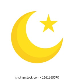 Star and crescent vector illustration, Ramadan related flat style icon