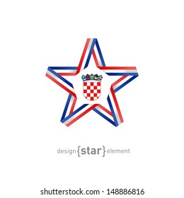 The star with Croatia flag colors and symbols vector design element