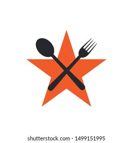 Star with crossed fork and spoon restaurant food logo design